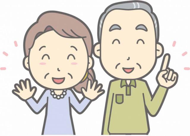 笑顔の年配の夫婦のイラスト