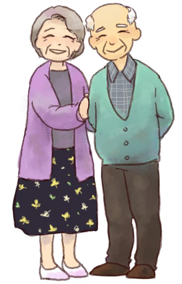 仲のいい年配の夫婦のイラスト