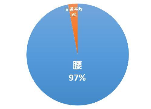 何できましたか  腰が97% 交通事故が3%