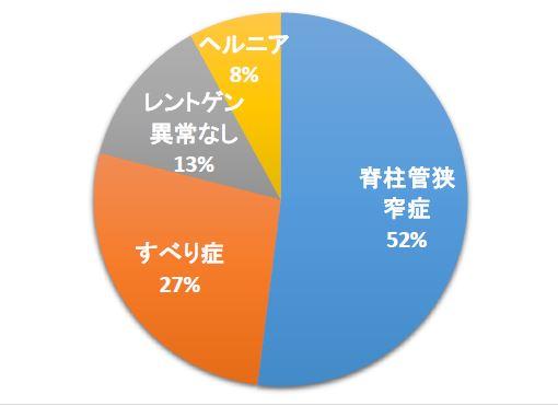 来院している病名の内訳 狭窄症が52% すべり症27% レントゲン異常なし13%  ヘルニア8%